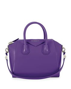 Antigona Small Leather Satchel Bag, Purple by Givenchy at Bergdorf Goodman.