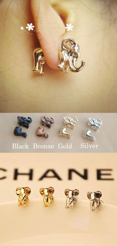 Which color do you like? Funny Cute 3D Elephant Earrings Studs #funny #cute #elephant #earrings