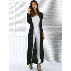 Hooded Maxi Long Duster Cardigan ($15) ❤ liked on Polyvore featuring tops, cardigans, hooded cardigans, long length tops, long length cardigan, long maxi cardigan and long cardi