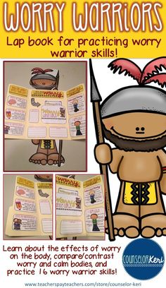 Worry Warriors lap book for anxiety management in early elementary school counseling! -Counselor Keri