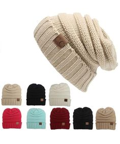 Unisex Beanie Knit Ski Cap Hip-Hop solid Colour Winter Warm Unisex Wool Hat//SHU