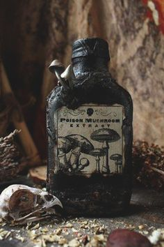 love the creepy Halloween Potion Bottles, Halloween Labels, Holidays Halloween, Halloween Crafts, Halloween Party, Halloween Decorations, Witch Spell, Altered Bottles, Witch Aesthetic