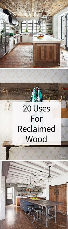 Use reclaimed wood for amazing salvaged decor and furniture in your home. Get inspired to start a reclaimed wood project with our gallery of ideas including a reclaimed barn door, a wall made with salvaged wood and cool vintage signs and other decor.