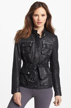 MICHAEL Michael Kors Belted Leather Jacket (Regular & Petite) (Nordstrom Exclusive) available at Style Me, Cool Style, Nordstrom Jackets, Michael Kors Jackets, Fall Outfits, Black Leather, Belt, Leather Jackets, Latex