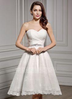 [US$ 129.99] A-Line/Princess Sweetheart Knee-Length Chiffon Lace Wedding Dress With Ruffle Beading Sequins