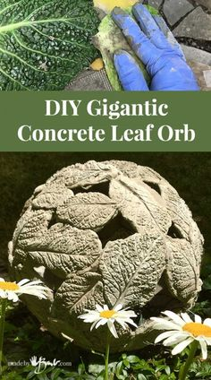Make a unique textural garden ornament that is lightweight and has great lighting possibilities. Easy project using fastset concrete. garden projects DIY Gigantic Concrete Leaf Orb - Made By Barb - lightweight Garden Sphere Concrete Yard, Cement Garden, Cement Art, Concrete Crafts, Concrete Projects, Concrete Garden Ornaments, Cement Planters, Mosaic Garden, Wall Planters