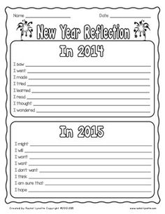 New Year Reflection for 2014-2015. Great way to reflect on the old year and think about the new one. Send home before winter break, or use as a writing prompt when you return. FREE