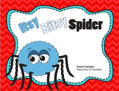 Itsy Bitsy Spider Kit   Five Circle Time Activity Cards Pocket Chart Words/Picture Cards for the Nursery Rhyme/Song Sequencing Activity Work Sample and Rubric