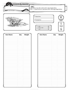Dungeons & Dragons inventory sheet for carts.