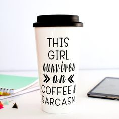travel coffee mug/Coffee and Sarcasm travel mug/ coffee travel mug/coffee mug/coffee cups/to go coffee mug/plastic coffee cup/coffee tumbler Coffee Tumbler, Funny Coffee Mugs, Coffee Quotes, Coffee Drinks, Travel Mug Coffee, Coffee Logo, Coffee Poster, Travel Mugs, Cozy Coffee
