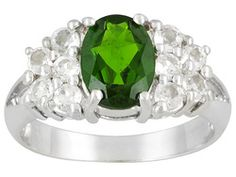 Russian Chrome Diopside 1.45ct Oval And .75ctw Round White Topaz Sterling Silver Ring Erv $83.00
