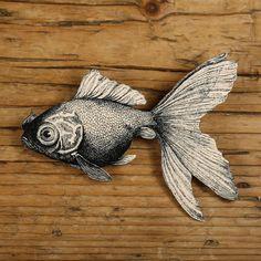 Poisson rouge Broche - bijoux poisson rouge - poisson rouge Broche - poissons Pin - Illustration noir et blanc - pêche - Fish Bowl - impression noir et blanc