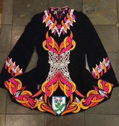 Striking Black Gavin Doherty Irish Dance Dress Solo Costume For Sale
