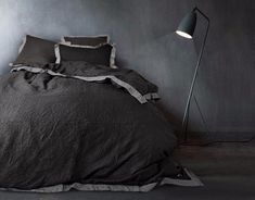 washed European linen duvet cover in black finished with grey colour border around. Black Duvet Cover, Linen Duvet, Comforters, Duvet Covers, Black And Grey, Gray Color, Colours, Bed Sets, Twin