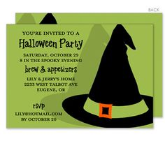 Bewitched Hat Halloween Invitations