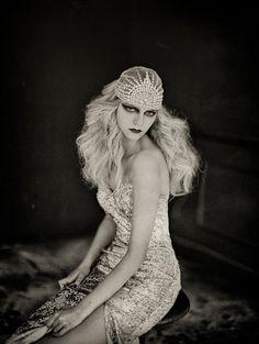 Lujon Crystal Art Deco 1920's Tulle Headpiece by GibsonBespoke