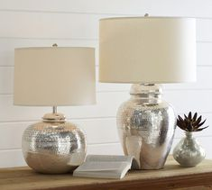 """Tall Bedside: 11"""" diameter, 28"""" high Crafted of brass. Distinctive hand-hammered texture."""