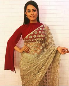 Looking for stylish blouse designs for sarees? Here are chic blouse models with fancy neck and sleeve designs that you can wear with any saree. Saree Jacket Designs, Sari Blouse Designs, Saree Blouse Patterns, Shagun Blouse Designs, Blouse Back Neck Designs, Best Blouse Designs, Saree Draping Styles, Saree Styles, Stylish Blouse Design