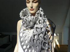 Felted Scarf merino wool silk Hand made felt shawl  Grey, majorlaura.etsy.com