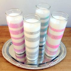 Pin for Later: 36 Dollar-Store DIY Projects to Try Out Glitter Wedding Candles These sweet glittery candles are perfect for a wedding or a bridal shower! Photo: Sarah Lipoff