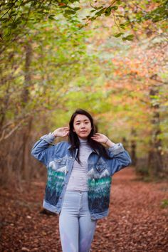 Hand Painted Forest Denim Jacket by WeAreHairyPeople on Etsy