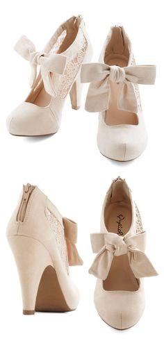 Behold in High Regard Heels   cream lace bow booties
