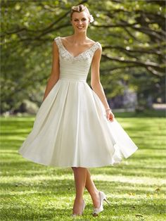 A-line Off-the-shoulder Beaded Pleated Knee Length Satin Wedding Dress WD1629 www.tidedresses.co.uk $209.0000