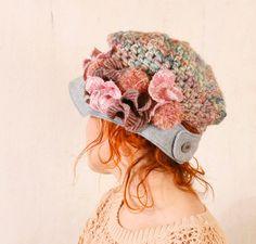 Woman newsboy hat Woman crochet hat Blue crochet hat Woman knit hat Pastel hat woman Blue pink hat Chunky hat Crochet newsboy hat. $87.00, via Etsy.
