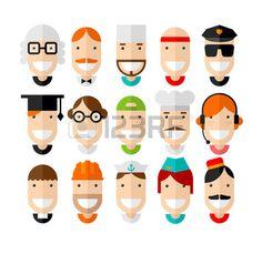 Sourire heureux professions caract�re, design plat, illustration vectorielle photo