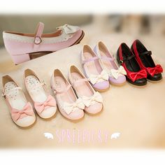 4 Colors Lolita Bow Round Toe Low Heels Shoes Free Ship SP141459