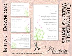 DIY Wedding Invite set TEMPLATE Instant Download printable (spring butterflies pink and green 5X7 with 3 cards)