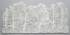 """Lesley Richmond textile artist, called """"Mystic Forest"""" and I like the use of how she used twigs to silk screen her work"""