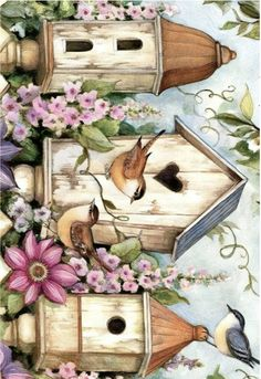 Vintage Art Prints, Vintage Birds, Vintage Images, Rice Paper Decoupage, Flower Mural, Diy And Crafts, Paper Crafts, Decoupage Printables, Paisley Art
