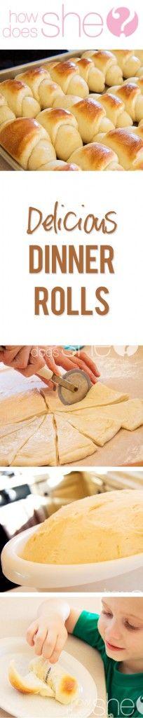 Delicious Dinner Rolls #recipe #dinnerrolls #rolls howdoesshe.com