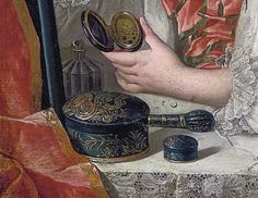 Fine Chinese laquer toilet set - detail from an early 18th century portrait by Drouais