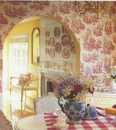 Nancy's Daily Dish: Traditional Red White & Blue Rooms with Transferware