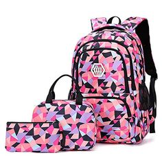 Free,Carvas Backpack for Boys & Girls School Bags Polka Dot Backpack 3pcs Kids Book Bags Lunch Bags Purse (Pink-red)
