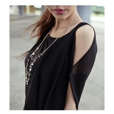 Black Women Fashion Single Edge Asymmetrical Chiffon Dresses One Size... ($11) via Polyvore