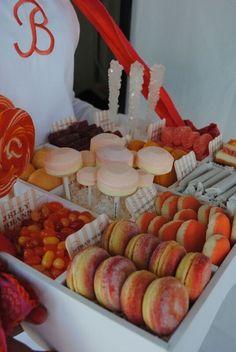 Bridal Shower dessert tray on PartySlate. Dessert Buffet, Dessert Tables, Dessert Ideas, Traditional Wedding Favours, Shower Orange, Bridal Shower Desserts, Orange Candy, Chocolate Fountains, What A Beautiful Day