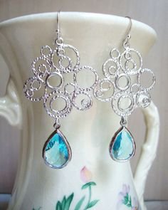 Aquamarine Blue Glass and Silver Bubble Earrings