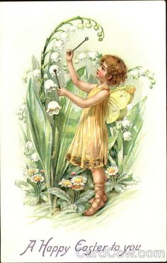 Girl with yellow fairy wings, playing on flower Easter Postcards Series 1051 A Happy Easter to you