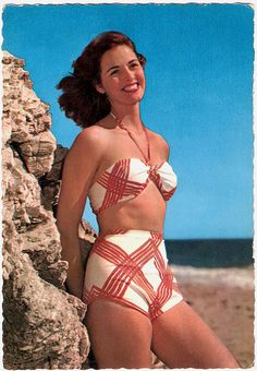 Red and white lattice swimsuit loveliness. #vintage #1950s #model #beach #summer