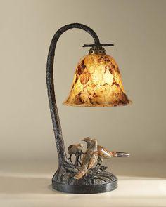 Maitland-Smith Cast Brass Verdigris Finished Grouping of Birds Desk Lamp, Tiger Penshell Inlay Shade
