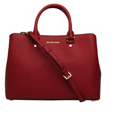 Savannah Large Satchel Michael Michael Kors Cherry (€324) ❤ liked on Polyvore featuring bags, handbags, red, zip zip satchel, zipper handbag, summer purses, satchel purses and satchel handbags