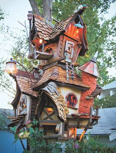 Whimsical!  Birdhouses of the World: Crooked Creations two-story birdhouse