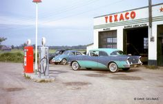 Texaco Gas Station - Gas Pump Globes - 1956 Buick - Ottawa, ON Canada - Circa: 1962 Drive In, Old Gas Pumps, Vintage Gas Pumps, 1956 Buick, Pompe A Essence, Buick Cars, Gas Service, Old Garage, Cities