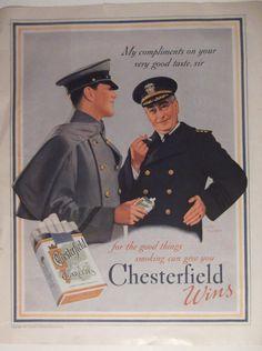 1937 CHESTERFIELD CIGARETTE AD Original Vintage Cigarette Tobacco Advertising