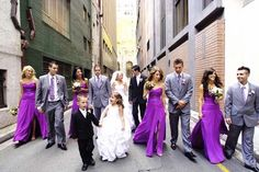 Purple and Gray- black suit for groom. Or black for groomsmen and gray for groom
