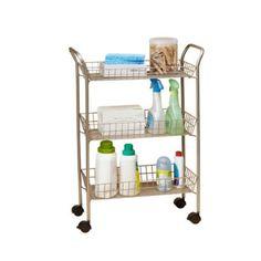 Pic Of  Tier Rolling Bath Cart with Locking Wheels in Matte Nickel Bathroom Laundry RoomsBathroom StorageBed