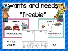 3 pages to review wants and needs.- A needs anchor chart- A wants anchor chart…